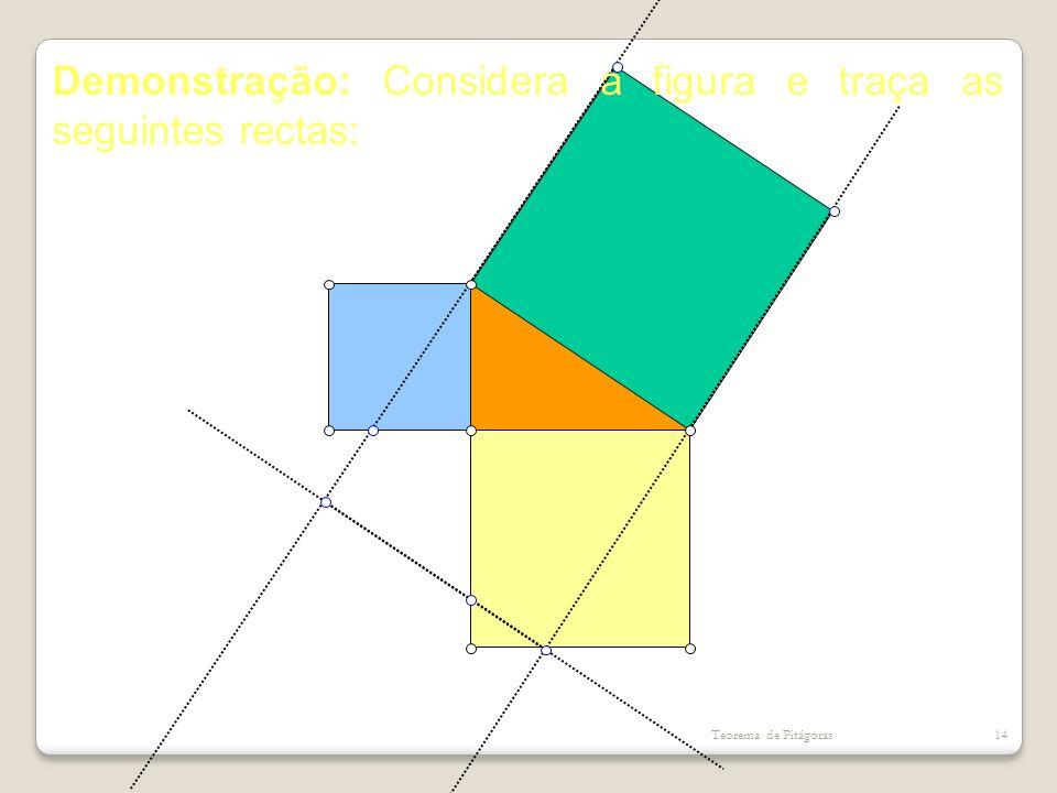 Demonstração: Considera a figura e traça as seguintes rectas: