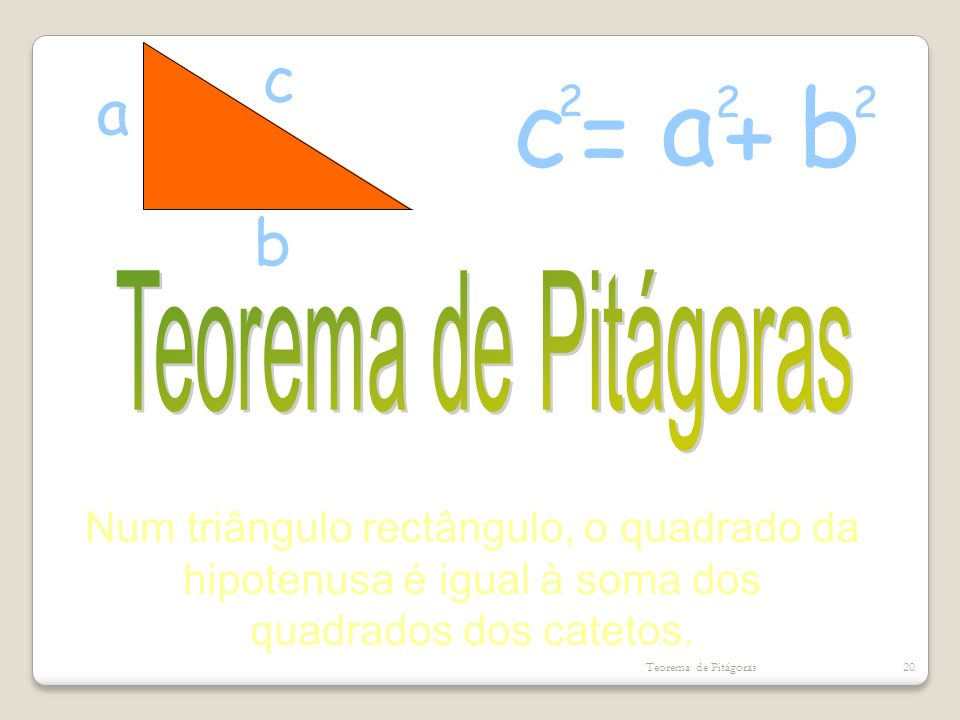 Num triângulo rectângulo, o quadrado da hipotenusa é igual à soma dos
