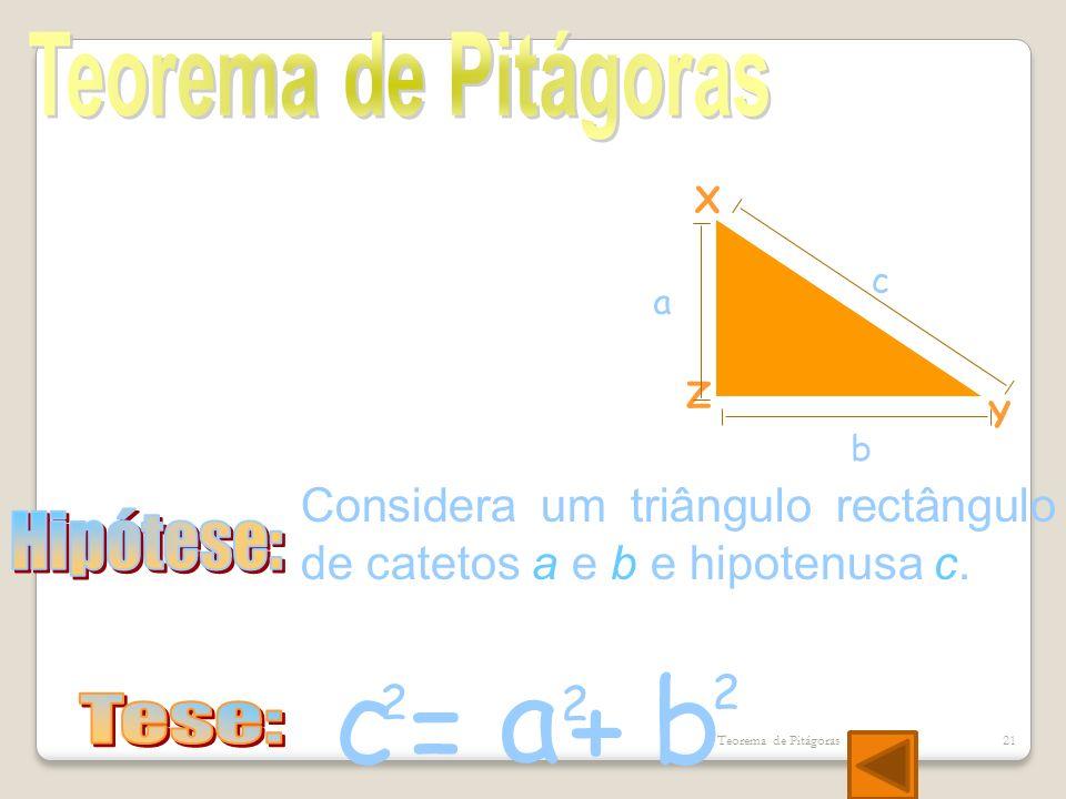 a c b = + Teorema de Pitágoras Hipótese: Tese: