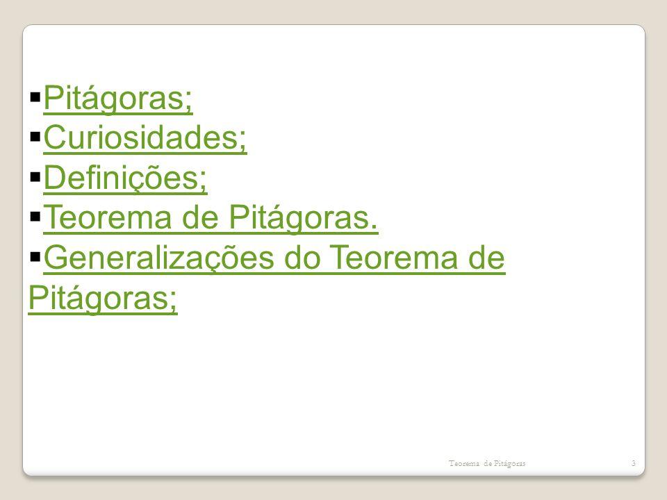 Generalizações do Teorema de Pitágoras;