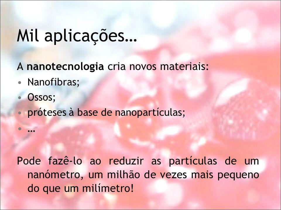 Mil aplicações… A nanotecnologia cria novos materiais: …