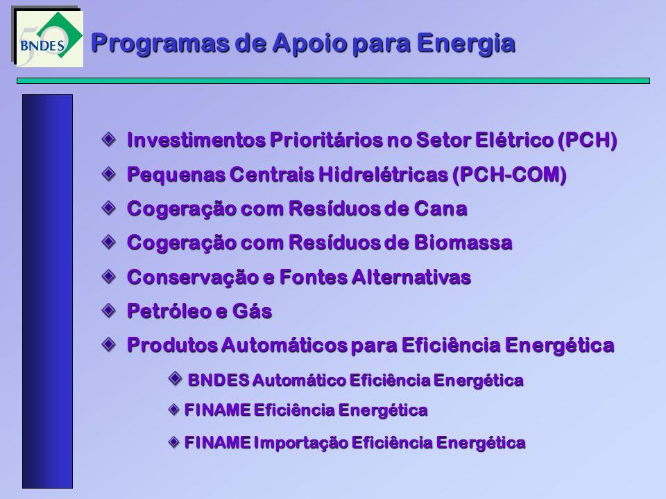 Programas de Apoio para Energia