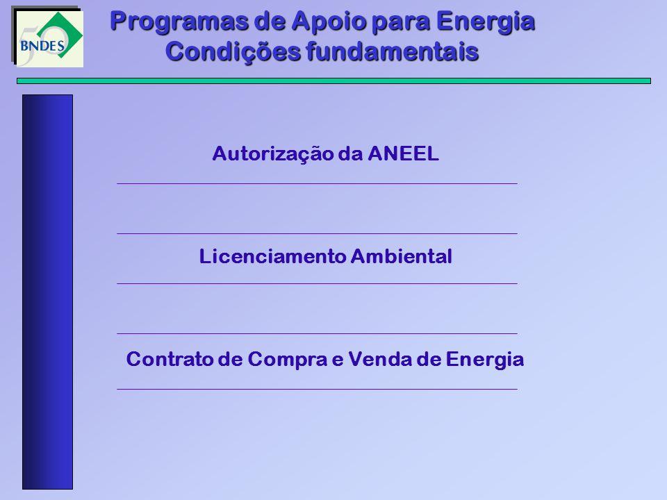 Programas de Apoio para Energia Condições fundamentais