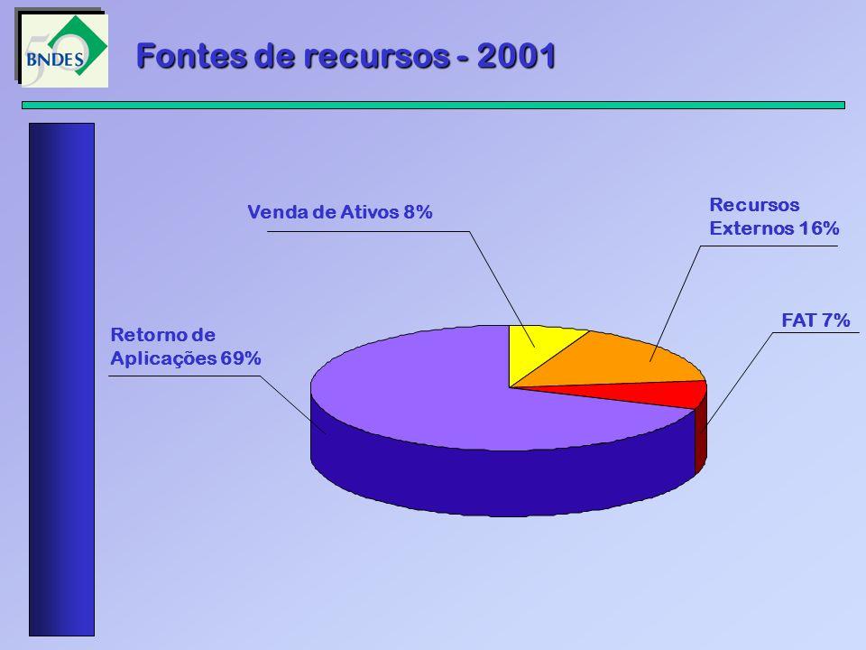 Fontes de recursos - 2001 Recursos Venda de Ativos 8% Externos 16%