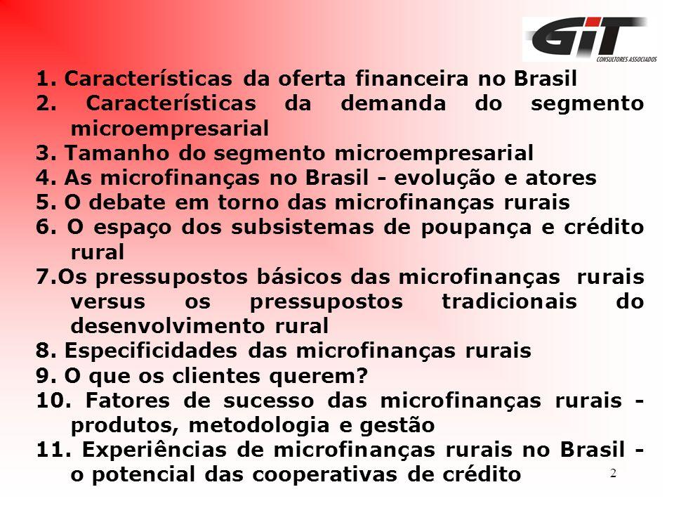 1. Características da oferta financeira no Brasil