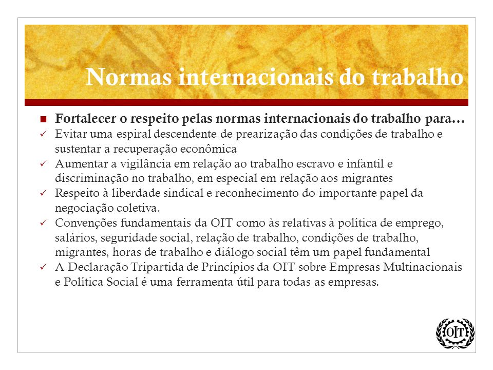 Normas internacionais do trabalho