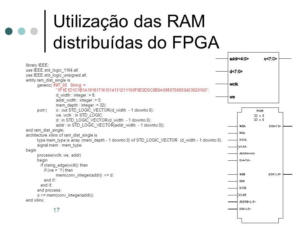 Utilização das RAM distribuídas do FPGA