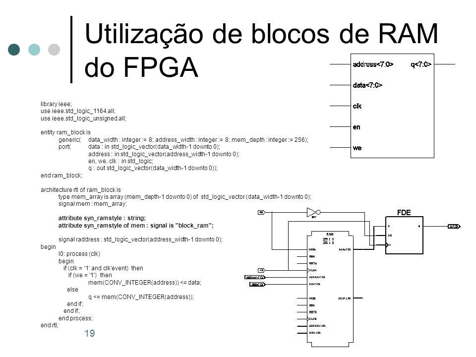 Utilização de blocos de RAM do FPGA