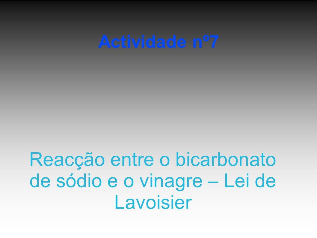 Reacção entre o bicarbonato de sódio e o vinagre – Lei de Lavoisier