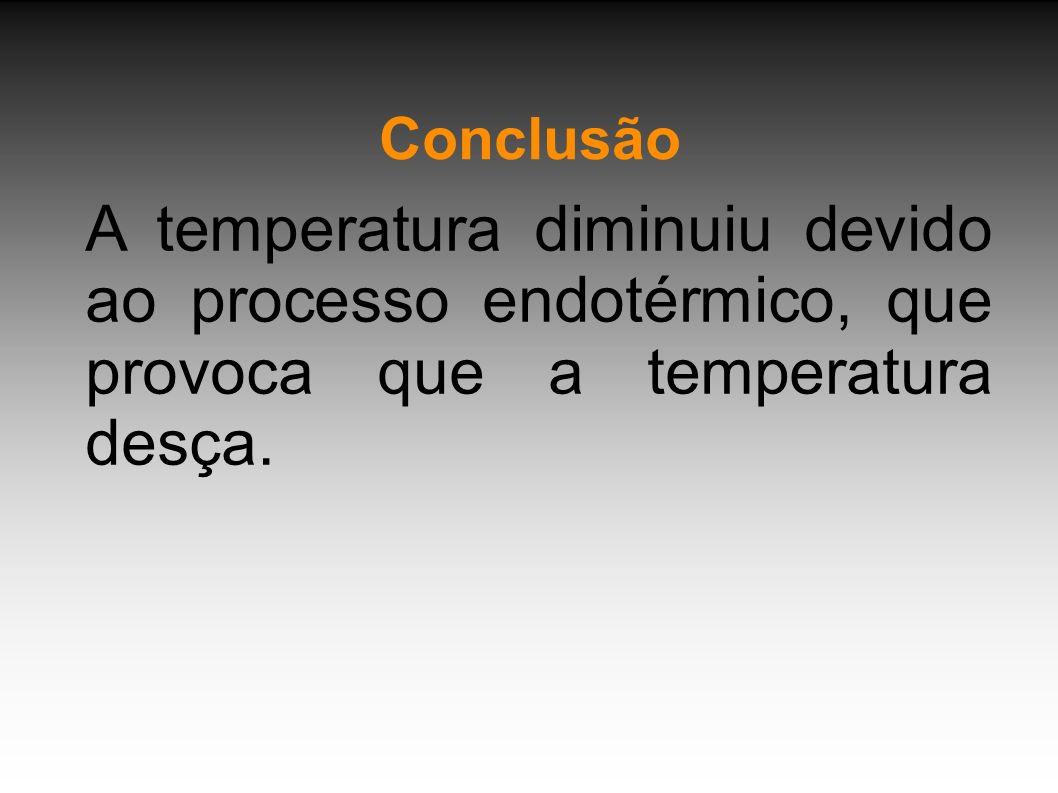 ConclusãoA temperatura diminuiu devido ao processo endotérmico, que provoca que a temperatura desça.