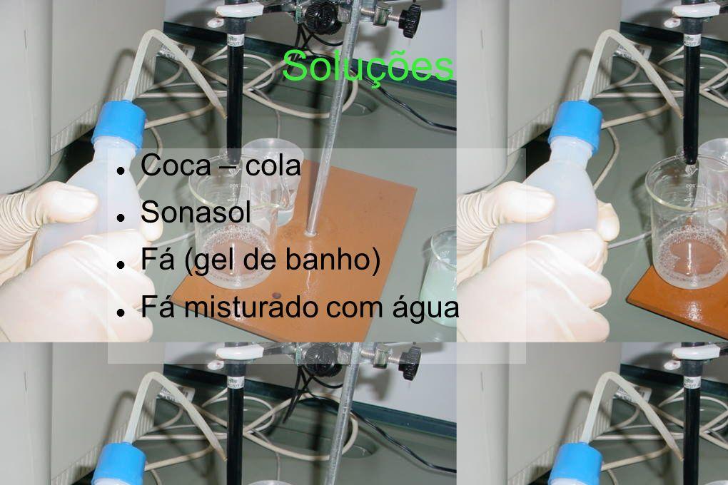 Soluções Coca – cola Sonasol Fá (gel de banho) Fá misturado com água