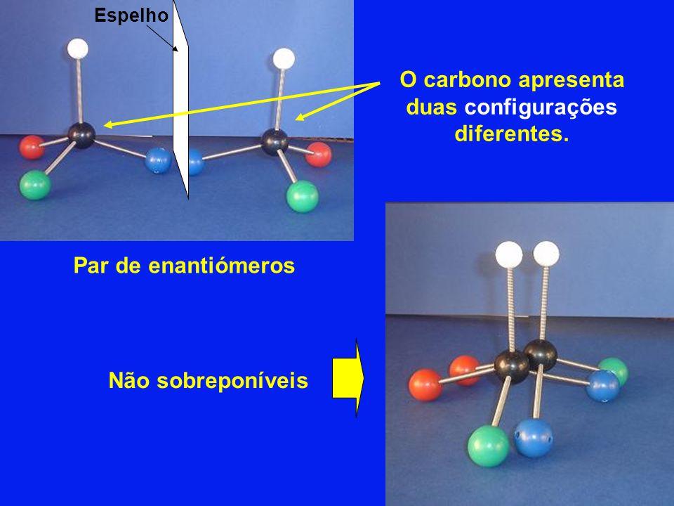 O carbono apresenta duas configurações diferentes.
