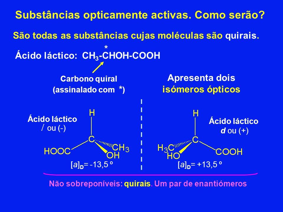 Substâncias opticamente activas. Como serão