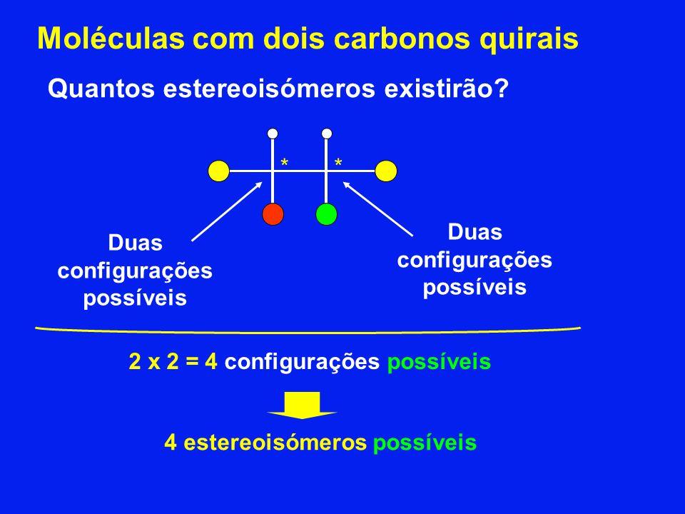 2 x 2 = 4 configurações possíveis 4 estereoisómeros possíveis