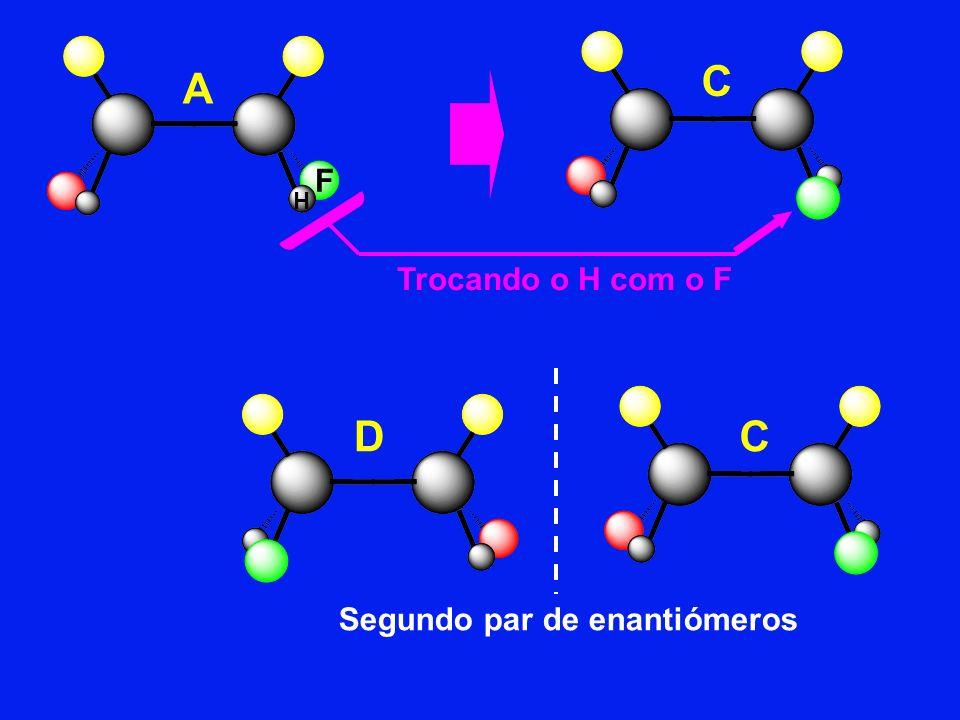 C A F H Trocando o H com o F D C Segundo par de enantiómeros