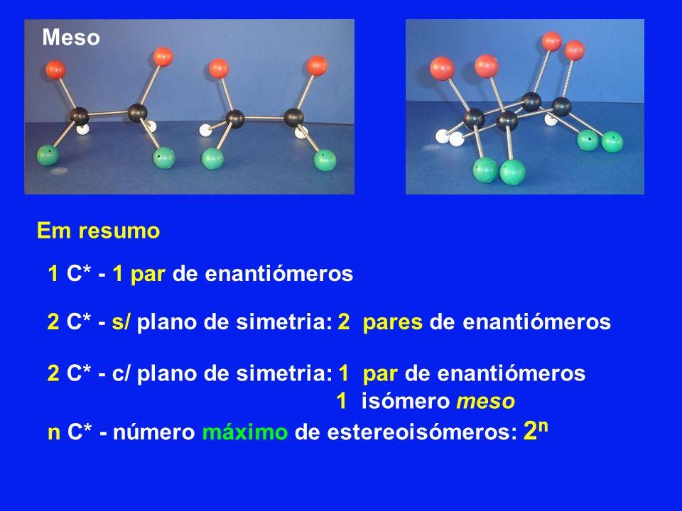 Meso Em resumo. 1 C* - 1 par de enantiómeros. 2 C* - s/ plano de simetria: 2 pares de enantiómeros.
