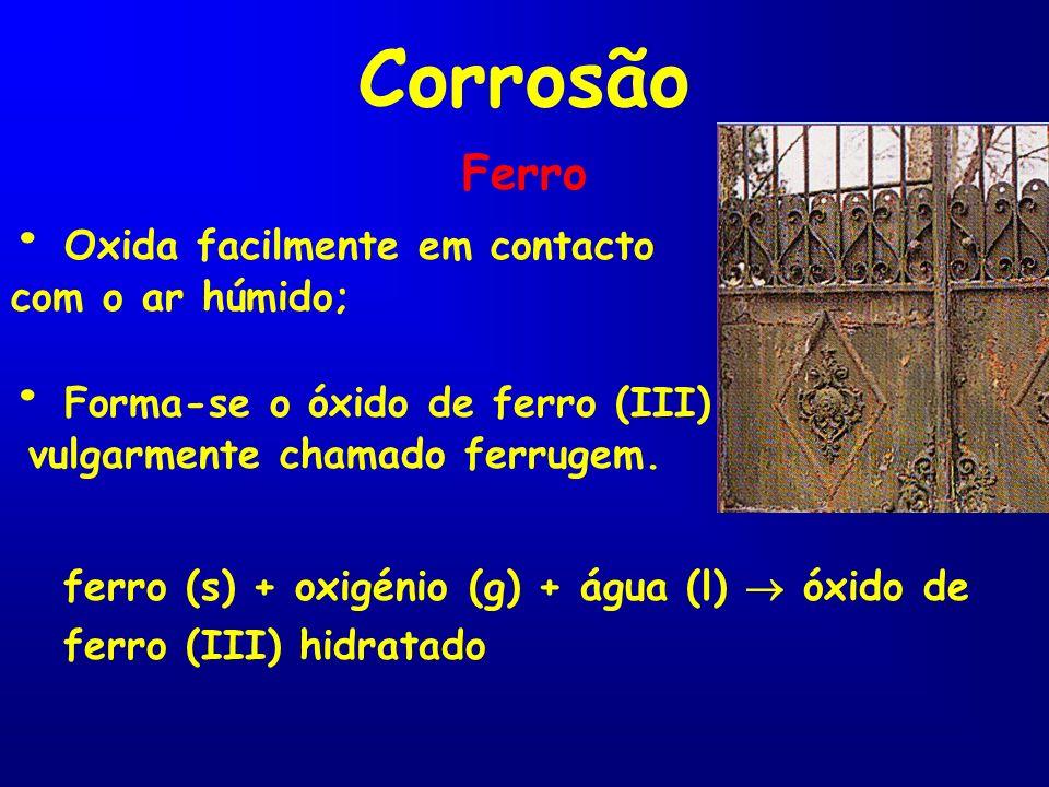 Corrosão • Oxida facilmente em contacto