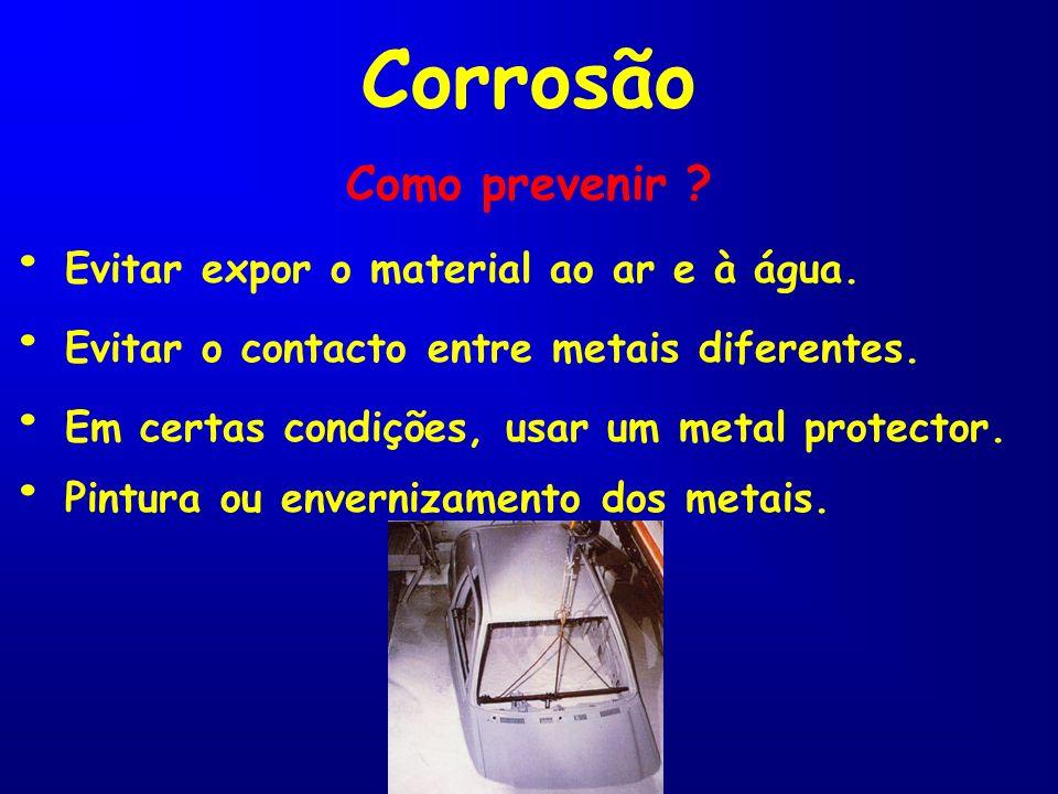 Corrosão • Evitar expor o material ao ar e à água.