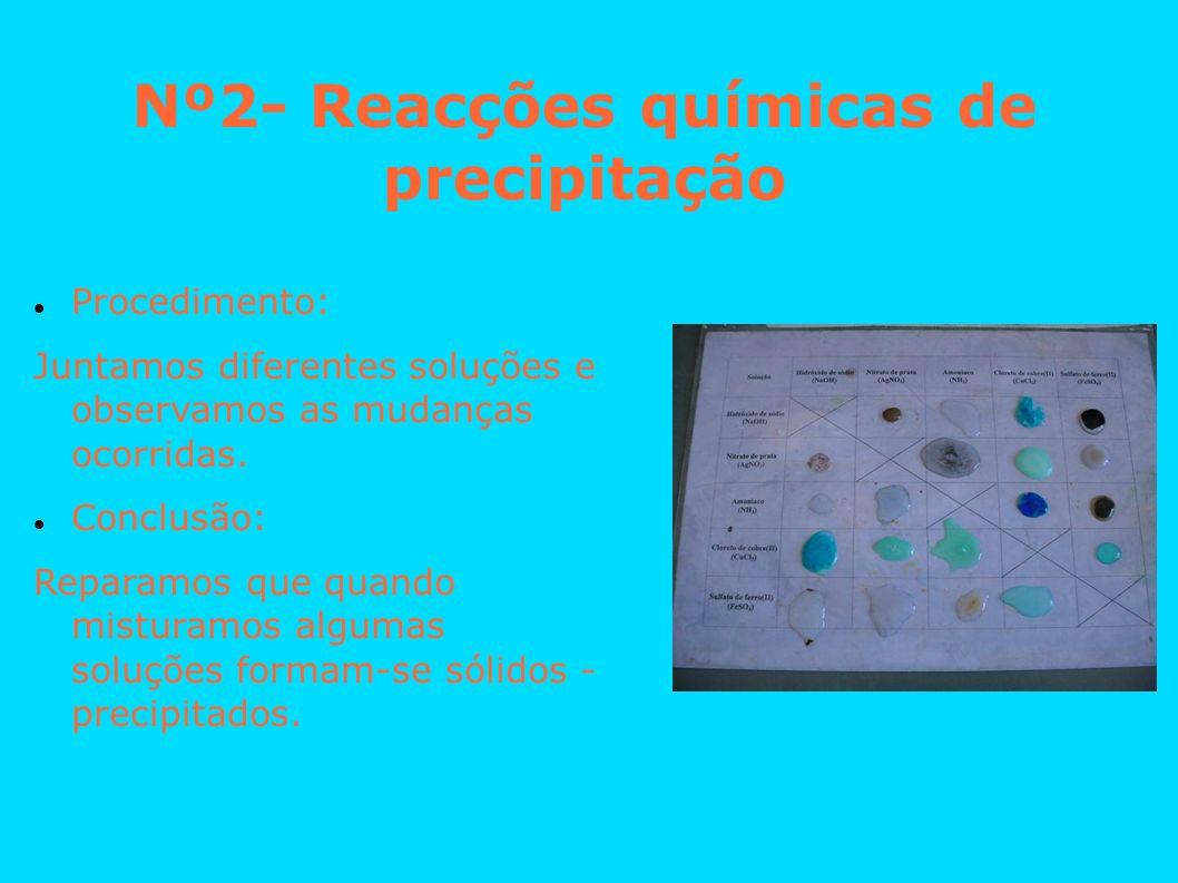 Nº2- Reacções químicas de precipitação