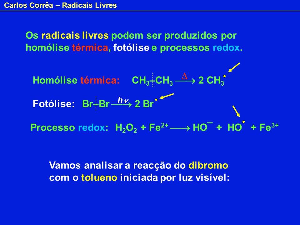 Os radicais livres podem ser produzidos por homólise térmica, fotólise e processos redox.