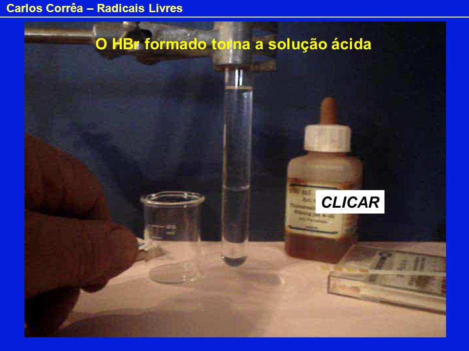 O HBr formado torna a solução ácida