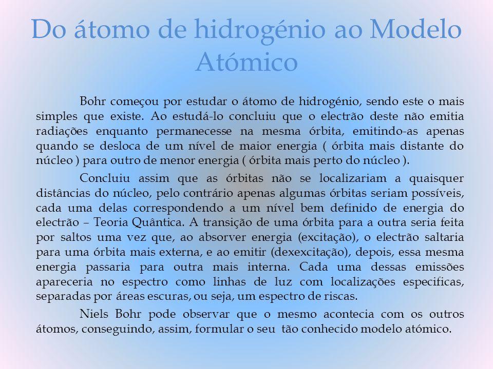 Do átomo de hidrogénio ao Modelo Atómico