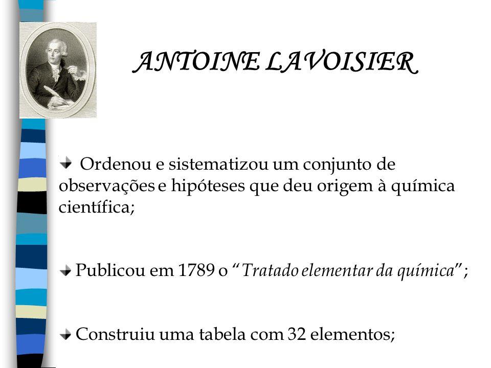 ANTOINE LAVOISIER Ordenou e sistematizou um conjunto de observações e hipóteses que deu origem à química científica;
