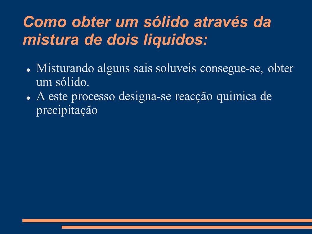 Como obter um sólido através da mistura de dois liquidos: