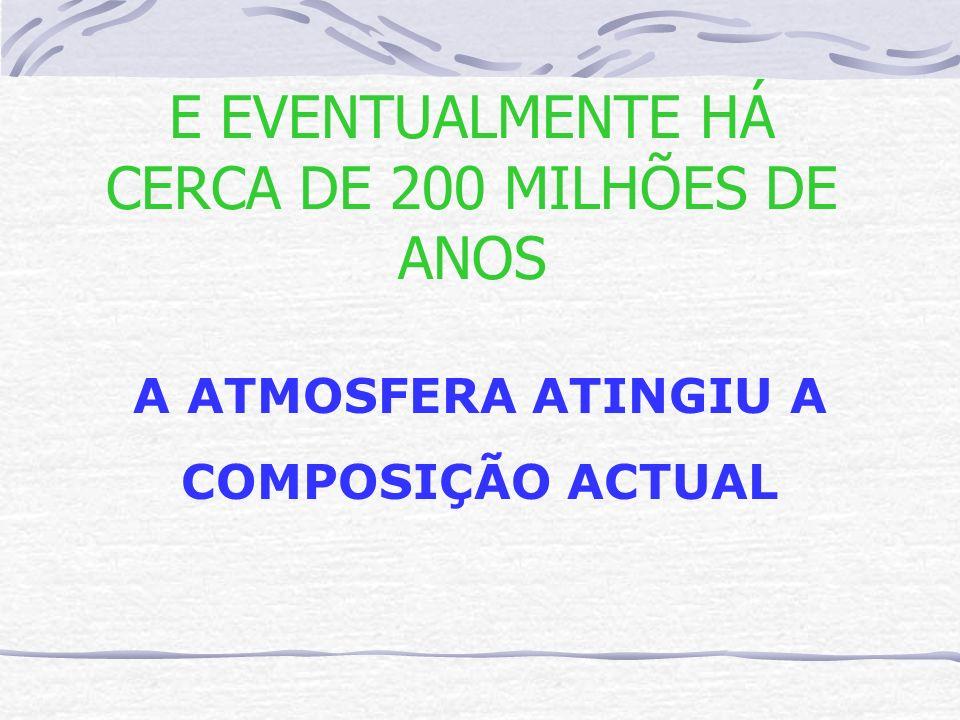 E EVENTUALMENTE HÁ CERCA DE 200 MILHÕES DE ANOS