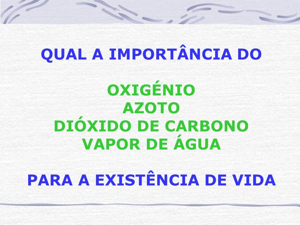 QUAL A IMPORTÂNCIA DO OXIGÉNIO AZOTO DIÓXIDO DE CARBONO VAPOR DE ÁGUA PARA A EXISTÊNCIA DE VIDA