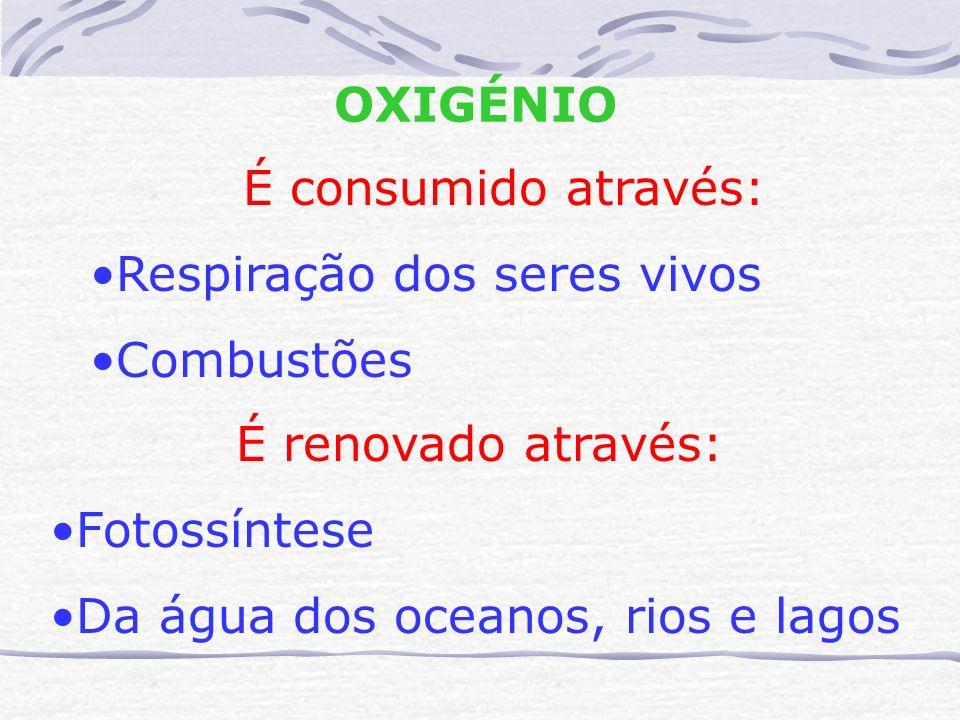 OXIGÉNIO É consumido através: Respiração dos seres vivos. Combustões. É renovado através: Fotossíntese.