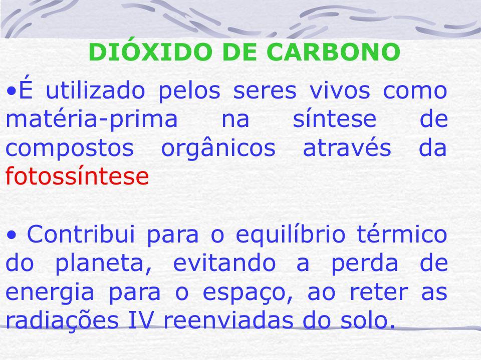 DIÓXIDO DE CARBONO É utilizado pelos seres vivos como matéria-prima na síntese de compostos orgânicos através da fotossíntese.