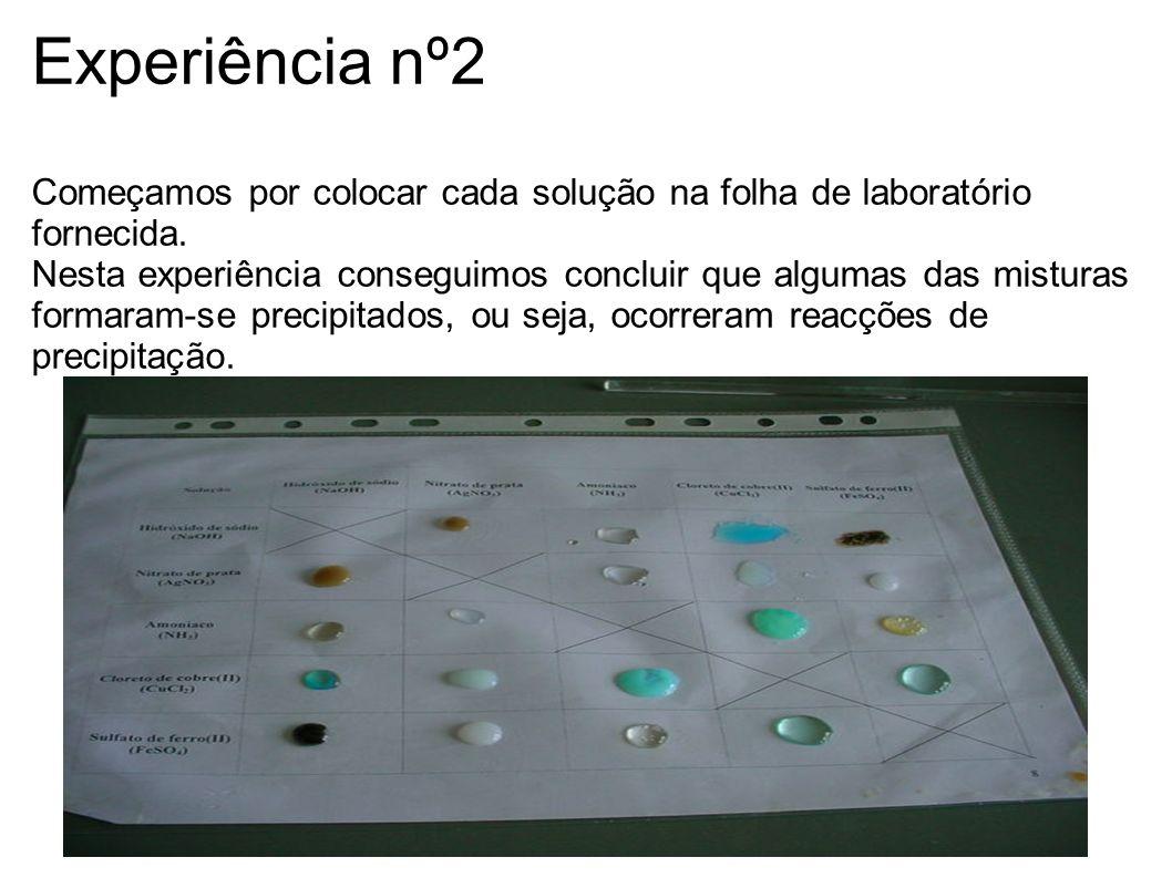 Experiência nº2 Começamos por colocar cada solução na folha de laboratório fornecida.