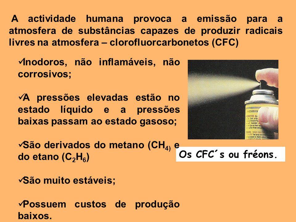 A actividade humana provoca a emissão para a atmosfera de substâncias capazes de produzir radicais livres na atmosfera – clorofluorcarbonetos (CFC)