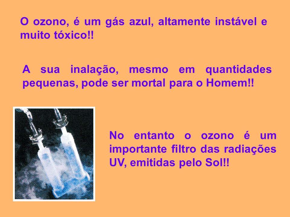 O ozono, é um gás azul, altamente instável e muito tóxico!!