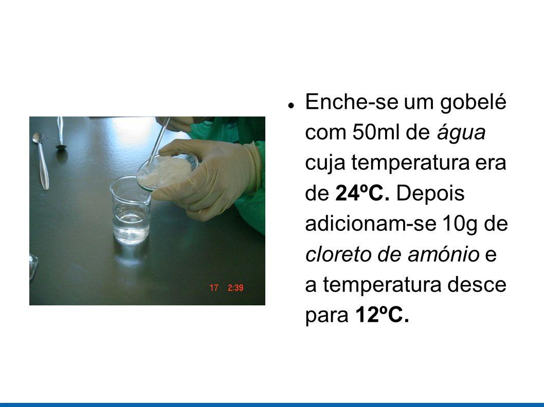 Enche-se um gobelé com 50ml de água cuja temperatura era de 24ºC