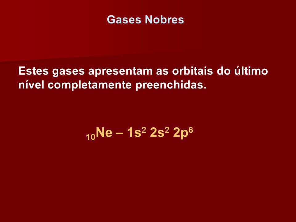 Gases Nobres Estes gases apresentam as orbitais do último nível completamente preenchidas.