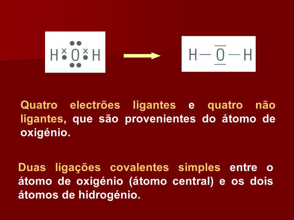 Quatro electrões ligantes e quatro não ligantes, que são provenientes do átomo de oxigénio.
