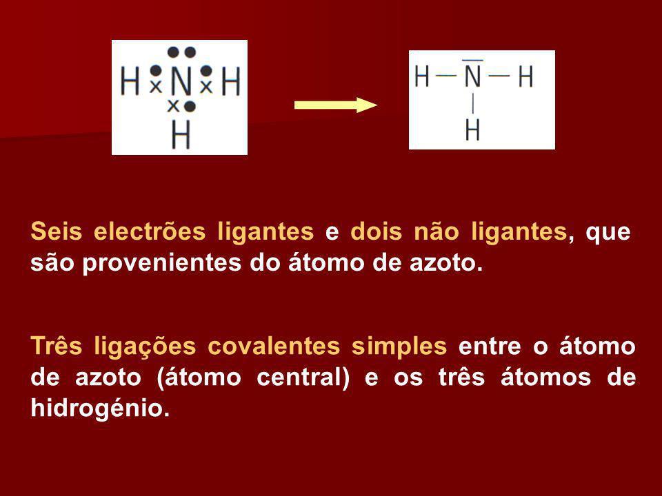 Seis electrões ligantes e dois não ligantes, que são provenientes do átomo de azoto.