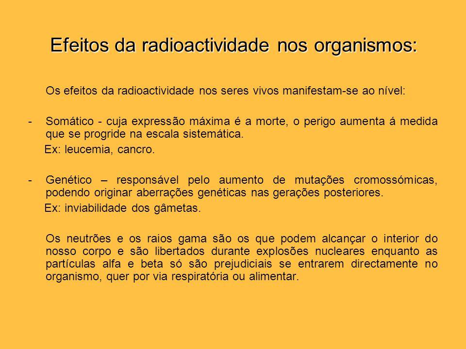 Efeitos da radioactividade nos organismos: