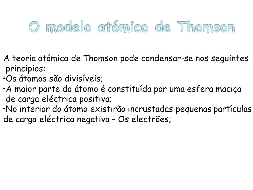O modelo atómico de Thomson