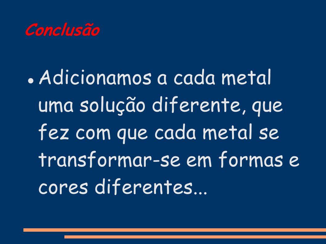Conclusão Adicionamos a cada metal uma solução diferente, que fez com que cada metal se transformar-se em formas e cores diferentes...