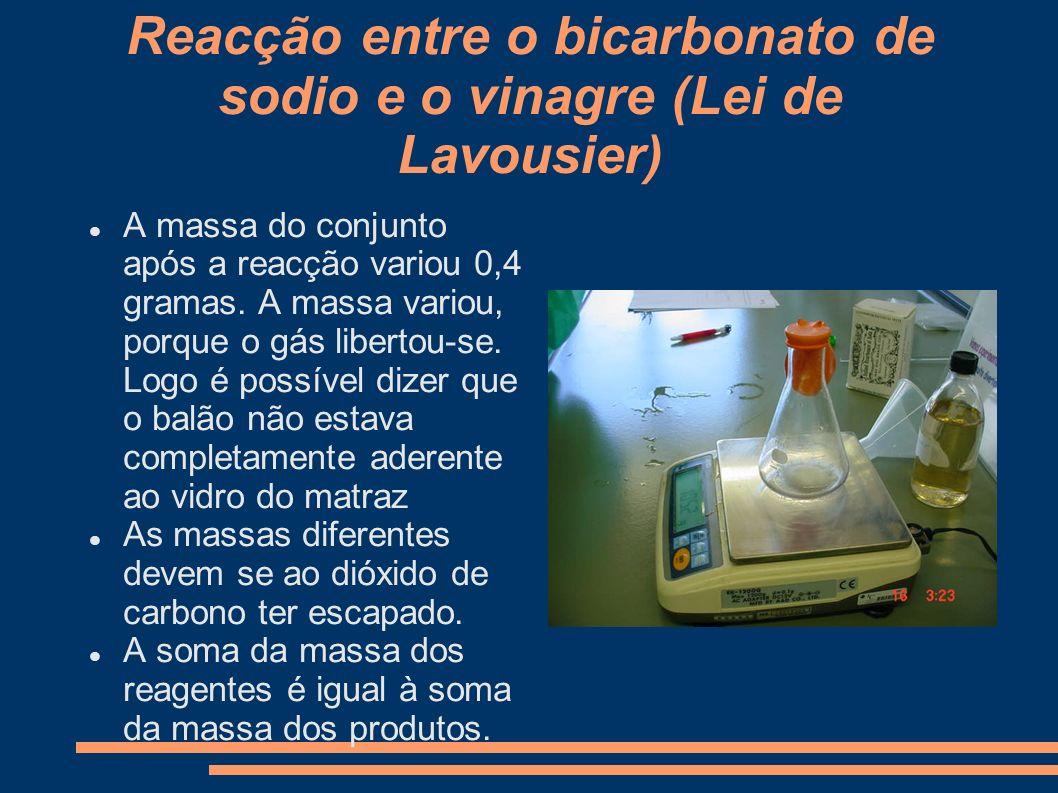 Reacção entre o bicarbonato de sodio e o vinagre (Lei de Lavousier)