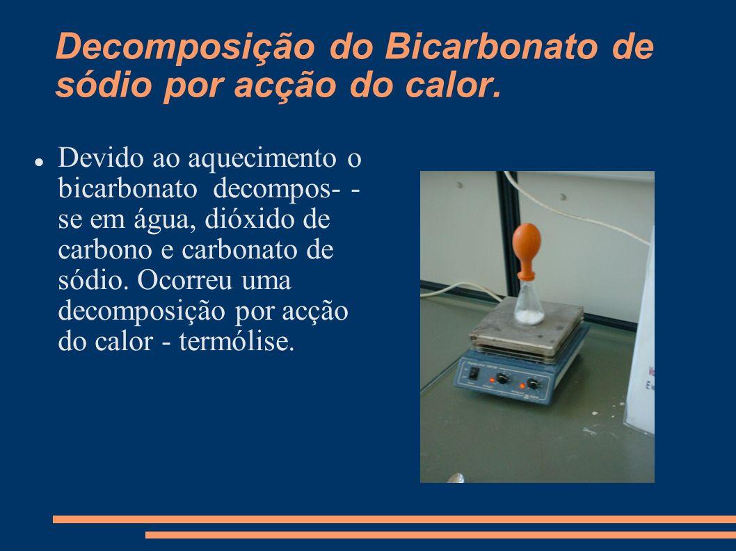 Decomposição do Bicarbonato de sódio por acção do calor.