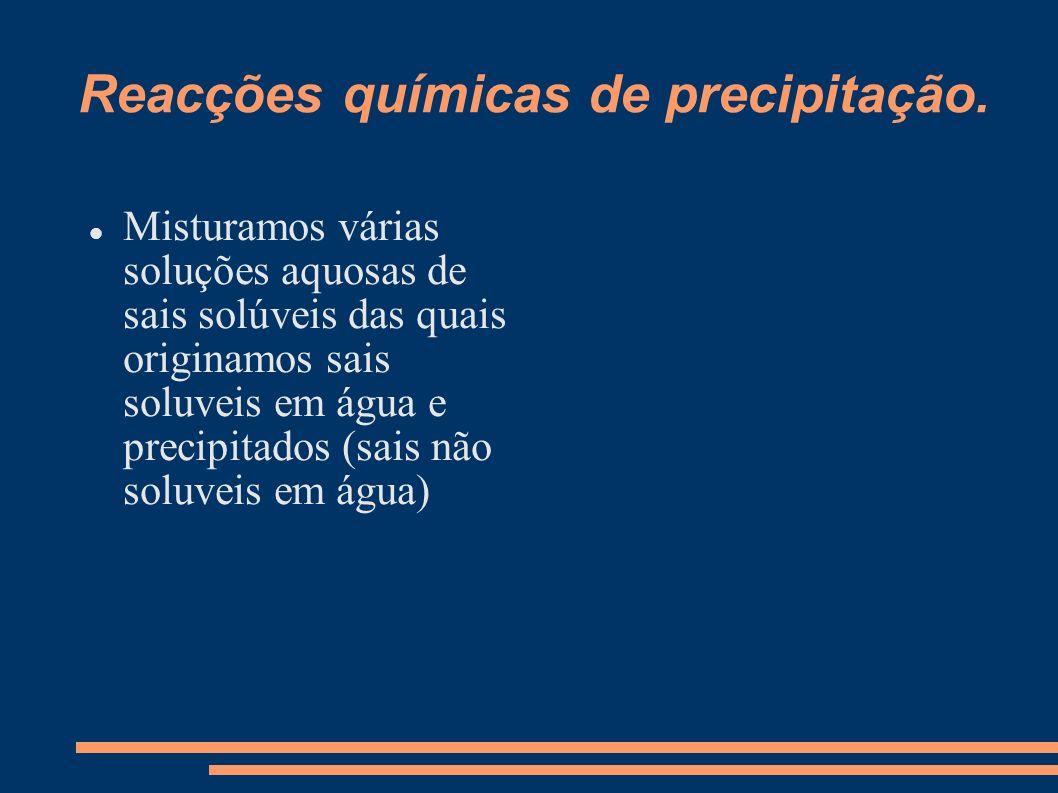 Reacções químicas de precipitação.