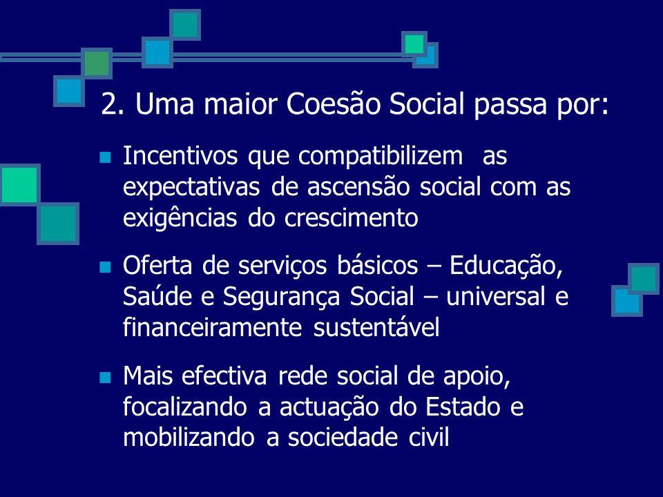 2. Uma maior Coesão Social passa por: