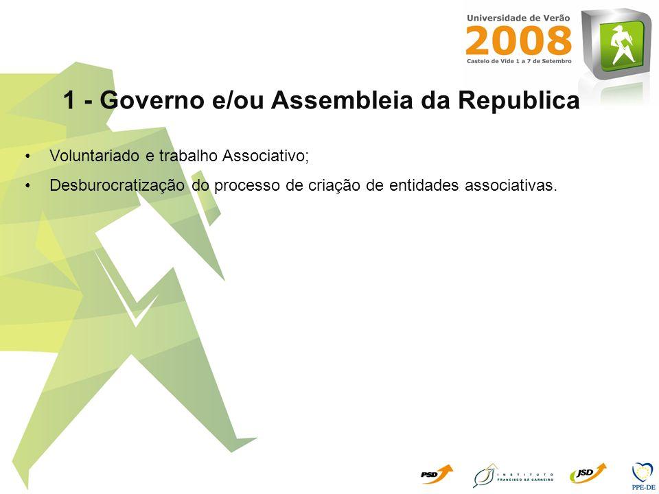 1 - Governo e/ou Assembleia da Republica