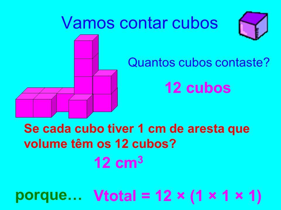 Vamos contar cubos 12 cubos 12 cm3 porque… Vtotal = 12 × (1 × 1 × 1)