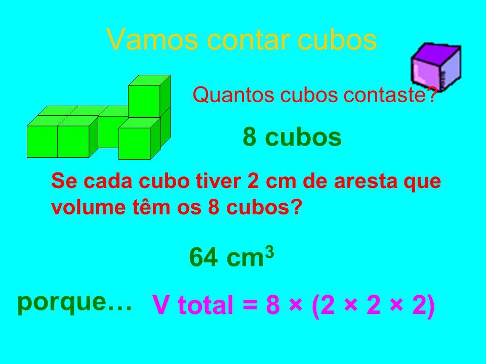 Vamos contar cubos 8 cubos 64 cm3 porque… V total = 8 × (2 × 2 × 2)