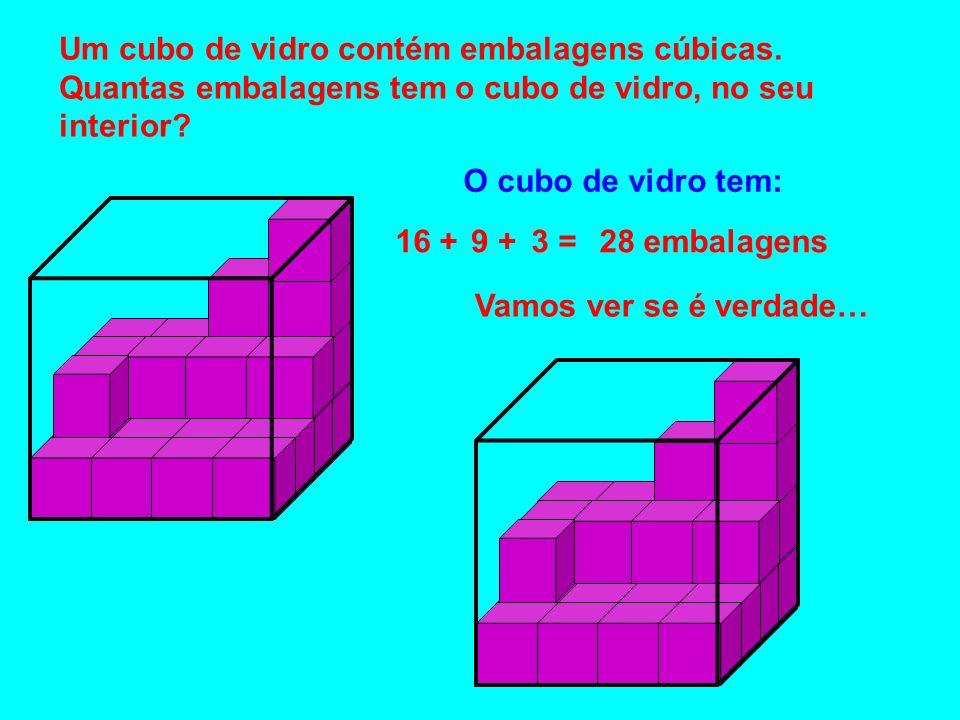 Um cubo de vidro contém embalagens cúbicas.
